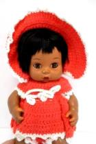 Playmates Vtg 1977 Vinyl Soft Body Baby Doll Black Hair Hand Crocheted Outfit