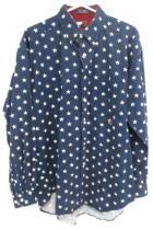 Vintage Tommy Hilfiger Button Down Shirt Star Print Blue Patriotic 90s Mens L