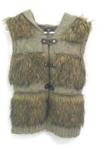 Sioni Faux Fur Hooded Vest Outerwear Knit Brown Strap Button Buckle Size Medium