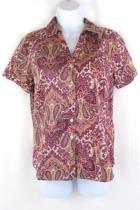 212 Collection Womens Button Up Shirt Short Sleeved Paisley Size Medium