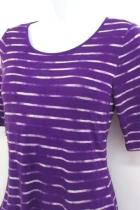 Apt. 9 Modern Essentials Womens Striped Shirt Elbow Sleeve Purple & White Sz XS