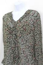 J. Jill Womens Sheer Tie Collared Blouse Long Sleeve Size Small