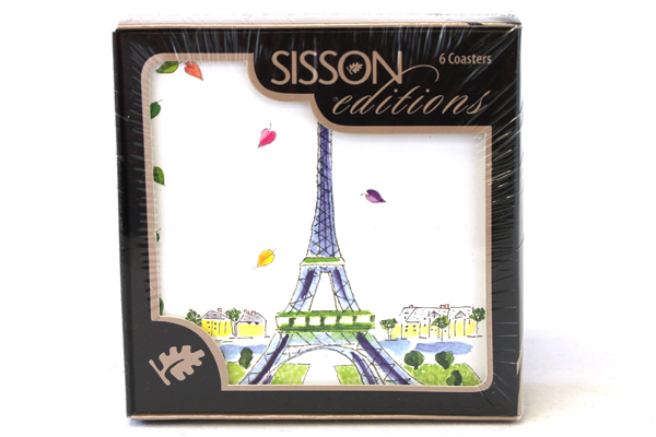 Paris Eiffel Tower Coasters Sisson Editions Imports Set of 6 Cork Backed