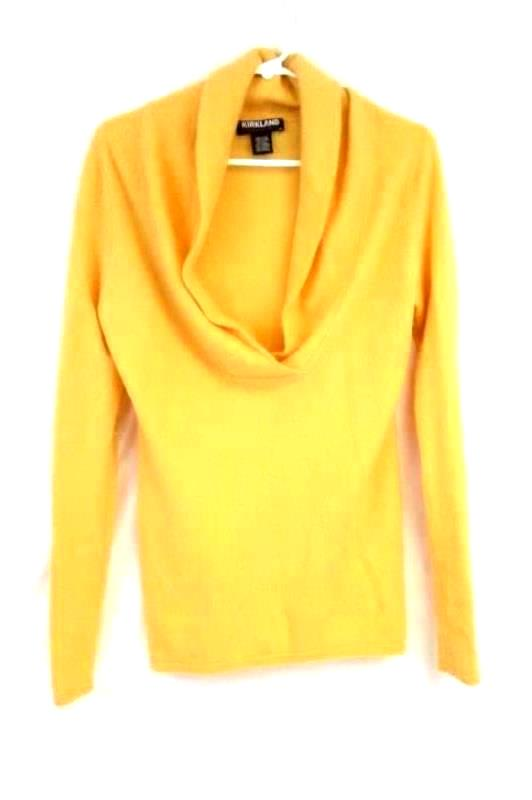 Details about Kirkland Golden Yellow Collared V Neck Pure Cashmere Sweater Women's Size M