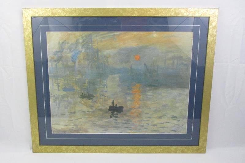 Framed Claude Monet Art Print Impression Sunrise 24 X 30 Ebay