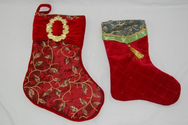 Lot of 2 Ornate Christmas Stockings Velour Cranberry Gold ...